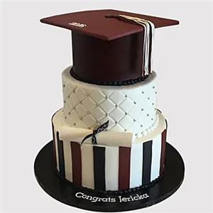 3 Layered Graduation Truffle Cake